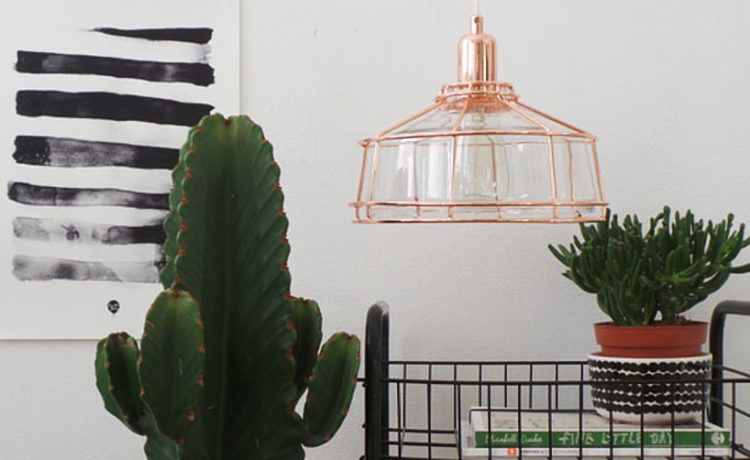 glazen lamp koper